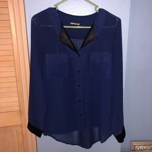 Express navy top with black snake skin